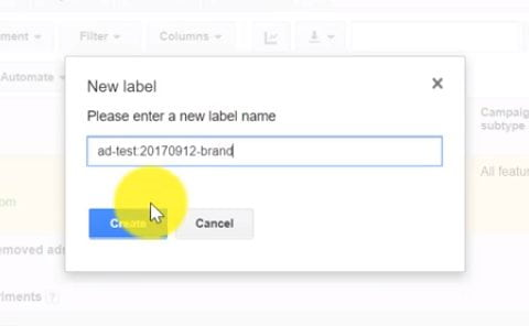 create new label name